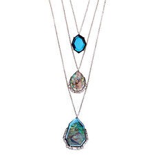 Rue Royale Three-Row Convertible Necklace Pendants Abalone Charms Antique Silver