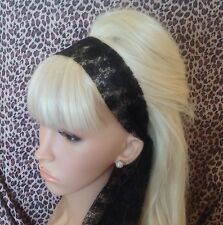 BLACK FLORAL LACE 50s VINTAGE STYLE HEADBAND HAIR SCARF SELF TIE BOW 80s RETRO