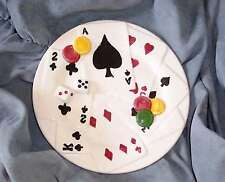 """NEW  CASINO CRAPS CARDS CHIPS DICE PLATE LINEN & THINGS 8"""" HAVE 3 AVAILABLE"""