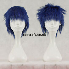 Short layered fluffy spikeable cosplay wig, midnight blue, UK seller, Jack style