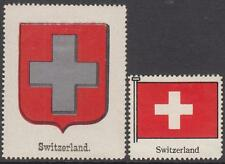 Switzerland Scott labels for Album Header Coat of Arms & Flag