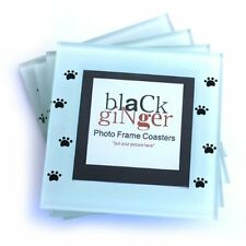 Set of 4 Personalised Paw Print Photo Frame Glass Coasters Drink Mats Dog Cat
