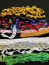 Vintage Lot Lace Ribbon Velvet Pom Trim Eyelet Hem 23 Yards + Doll Quilt Craft