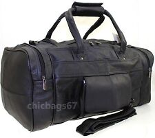 LADIES MENS LEATHER HOLDALL TRAVEL GYM DUFFLE SPORTS CABIN COWHIDE LEATHER BAG