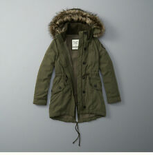 "Womens Abercrombie & Fitch Fleece Fur Sherpa Parka Hoodie Jacket Size M 36""-37"""