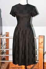 Vintage Kathryn Conover Short Sleeve Black Wool Full Skirt Dress Open Back XS/S