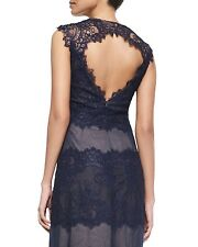 MARCHESA NOTTE Women's Cap Sleeve Lace Keyhole- Back Gown: Size 2: Navy