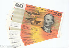 1968 Phillips Randall $20 Commonwealth Note in Consecutive run of 5 in A/unc