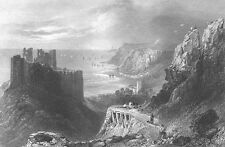 Wales, OYSTERMOUTH CASTLE ROCKY SEA COAST SWANSEA BAY ~ 1840 Art Print Engraving