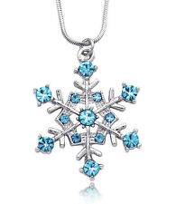 Aqua Snowflake Necklace for Bridesmaid Wedding Flower Girl  Bridal Jewelry n4a