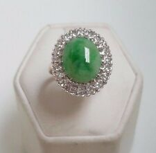 Vintage 14k Yellow Gold Jade Diamond Ring