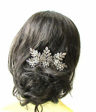 Large Silver Rhinestone Laurel Leaf Hair Comb Bridal Headpiece Vine Grecian 1206