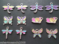 12 Enamel Butterfly & Dragonfly Charms Spring Summer Insect Jewelry Earrings S3