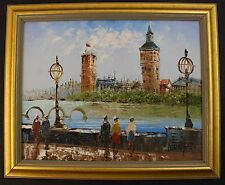 Listed Artist Signed Caroline Burnett Oil Board Parisian Canal Scene Framed Art