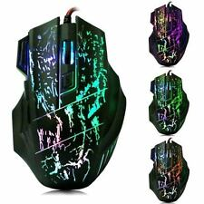 5500 DPI 7 Button LED Optical USB Wired Gaming Mouse Mice For Pro Gamer PC US