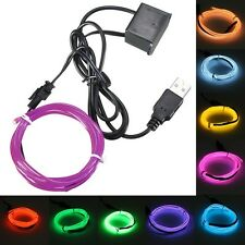 3M Single Color 5V USB Flexible Neon EL Wire Light Dance Party Decor Light