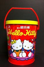 RARE VTG 1995 Hello Kitty Sanrio Large Handled Red Tin Bucket Container W/Lid