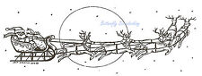 Santa And Sleigh With Giant Moon, Wood Mounted Rubber Stamp NORTHWOODS - N9266