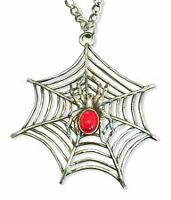 Gothic Spider on Web Red Cabochon Silver Finish Extra Large Necklace NK-362LC