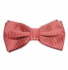 New Men's Pre-tied Bow tie Herring Bone Stripes Wedding Prom formal Red