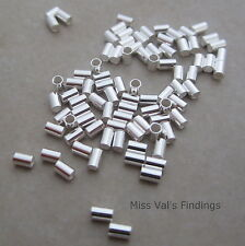 100 3mm x 2mm sterling silver crimp bead tube 1mm inner diameter