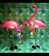 PAIR of Pink Flamingo Lamps Midcentury Gold Table Lamp Vintage Home Decor RV VTG