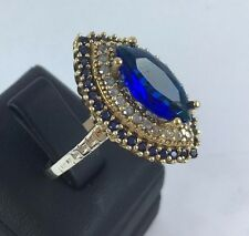 925 SILVER HANDCRAFT TURKISH JEWELRY / BLUE SAPPHIRE LADYS RING SIZE 8