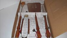 Duncan Hines BBQ Tool Set CHROME / WOOD - Vintage - New Old Stock - Complete