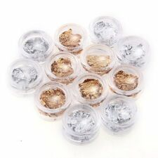 12 PCS Gold Silver Foil Paillette Nail Art Tips French UV Gel LW