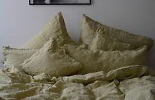 Leinenbettwäsche- Garnitur, stone washed , Grün, 155x 200 cm, 40x 80 cm