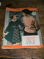 Femmes d'aujourd'hui N° 275 1950 Mode vintage 2  patrons Couture Broderie Robe