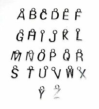 26 SILVER PLATED LETTER ALPHABET JEWELLERY CRAFT PENDANTS CHARMS - A-Z