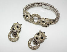 Vintage signed CINER Rhinestone leopard big cat bracelet Earrings SET AS IS