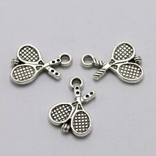6 pieces New TENNIS RACKET Silver-tone Alloy Charm 18 x 14 mm; Free Shipping