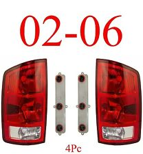 02 06 Dodge Tail Light Set, Assembly W/ Connector Plate & Bulbs, Ram, Both Sides