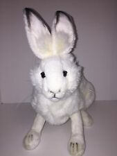 "Sitting Snow Bunny 12"" Plush Toy White Rabbit Realistic Stuffed Animal By Hansa"