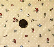 BEIGE WITH WHITE DOTS & HOLLY HOBBIE TYPE FIGURES-COTTON FABRIC FAT QUARTERS