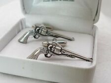 Antique Colt 45 Revolver Cufflinks in English Pewter, Gift Boxed, pistol, gun