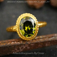 OMER DIAMOND CUT OVAL PERIDOT RING GOLD VERMEIL STERLING SILVER TURKISH JEWELRY