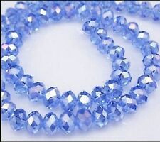 6x4mm Light blue AB Crystal Loose Beads 98pcs Free Shipping  A.016