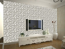 Modern Wallpaper Textured Grey Patterned Wave Futuristic Designer 10m x 0.53m