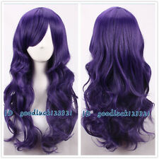 Tim Burton's Corpse Bride purple long wave curly cosplay wig +free wig cap