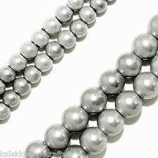 MAGNETIC HEMATITE BEADS PEARLIZED SILVER COLOR 4MM