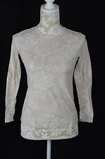 Simply Vera Wang Petite XS PXS Beige Long Sleeve Shirt Top White Printed