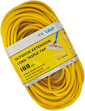 100 Ft 12/3 12 Gauge Triple Tap Heavy Duty Power Extension Cord Lighted End