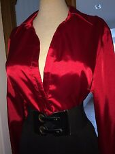 Extreme Shine Stretch Satin Secretary Mistress Blouse Size 18 Bust 42ins (N26)