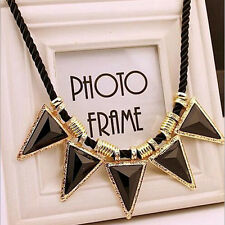Fashion Black Crystal Statement Collar Chain Pendant Necklace Bib Choker Jewelry
