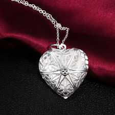 New Silver Plated Pendant Love Heart Valentine Love Locket Chain Necklace