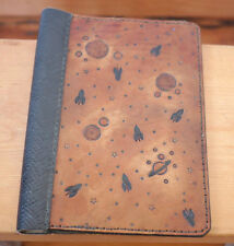 """Genuine Handtooled Leather Rocket Ship Stars Planets Book Cover 10.25"""" x 7.5"""""""