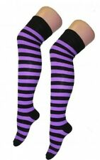 Ladies Over The Knee Purple And Black Stripy Stripey Socks Sox Striped Witch Sox